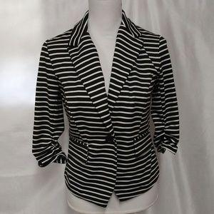 Cato Black White Stripe Elbow Length Sleeve Blazer